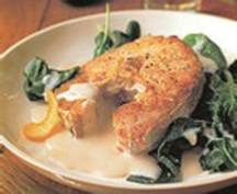 Hake With Spinach  And Lemon Sauce